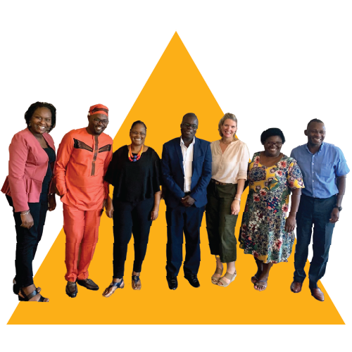 Picture of seven individuals, four women and three men, from the African Collaborative for Health Financing Solutions standing next to one another smiling.