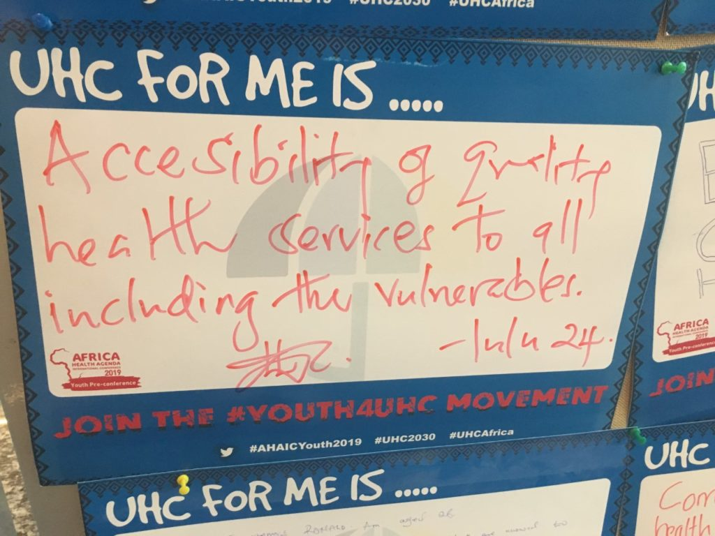 "graphic that reads ""UHC for me is… Accessibility of quality health services to all including the vulnerable."""
